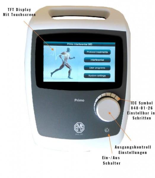 Touchscreen Display für Interferenzbehandlungen